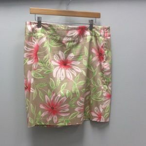 Talbots stretch tan and pink floral skirt size 14